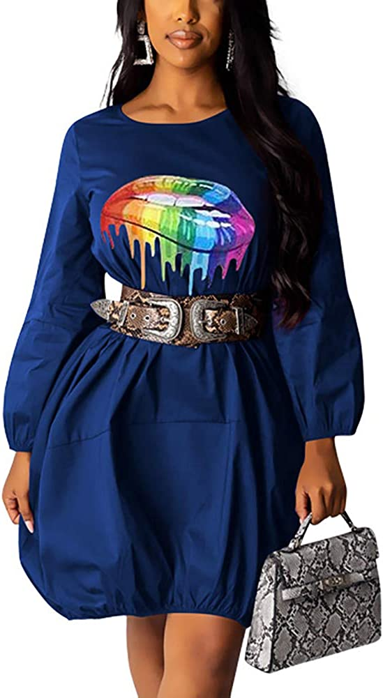 Tshirt Dress Casual Rainbow...