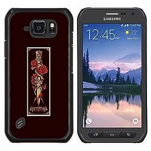 LECELL--Funda protectora / Cubierta / Piel For Samsung Galaxy S6Active Active G890A -- Rose Daga cráneo Kill Vignette Negro --
