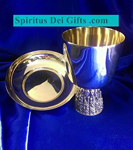 Chalice and Paten Last Supper Carving Gold and Silver Plated