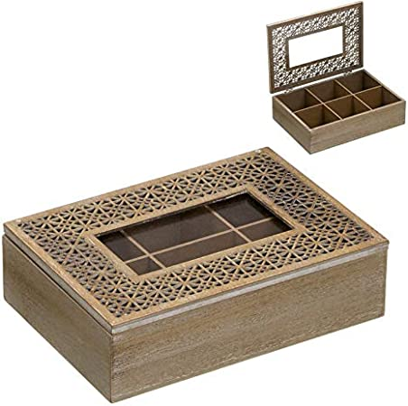 Home Gadgets Caja Te Almacenaje Infusiones 6 Compartimentos Troquelada 24 cm: Amazon.es: Hogar