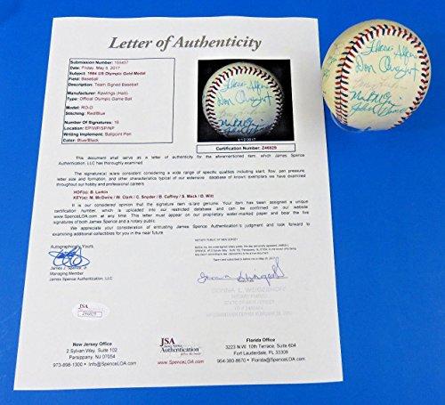 Baseball Olympics 1984 (1984 Usa Olympic Team Signed Baseball ~ Z46829~16 Sigs ~ Mcgwire, Larkin - JSA Certified - Autographed Olympic Miscellaneous)