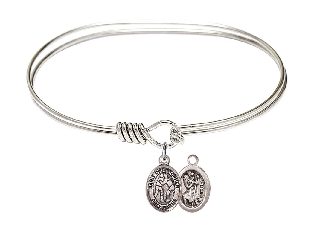 Rhodium Plate Twist Bangle Bracelet with Saint Christopher Wrestling Athlete Petite Charm, 7 Inch by Charmingly Faithful