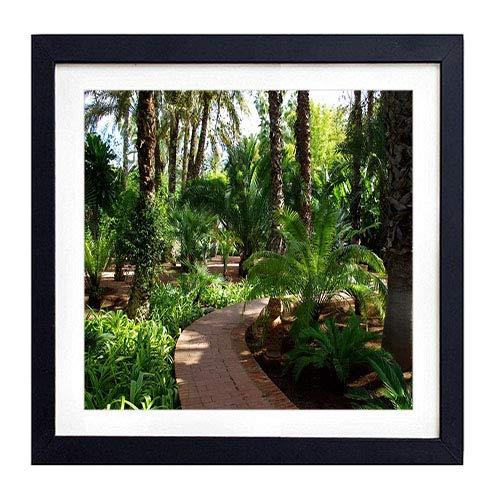 GLITZFAS PRINTS Framed Wall Art- Path Fern Turn Garden- Art Print Black Wood Framed Wall Art Picture for Home Decoration - 14