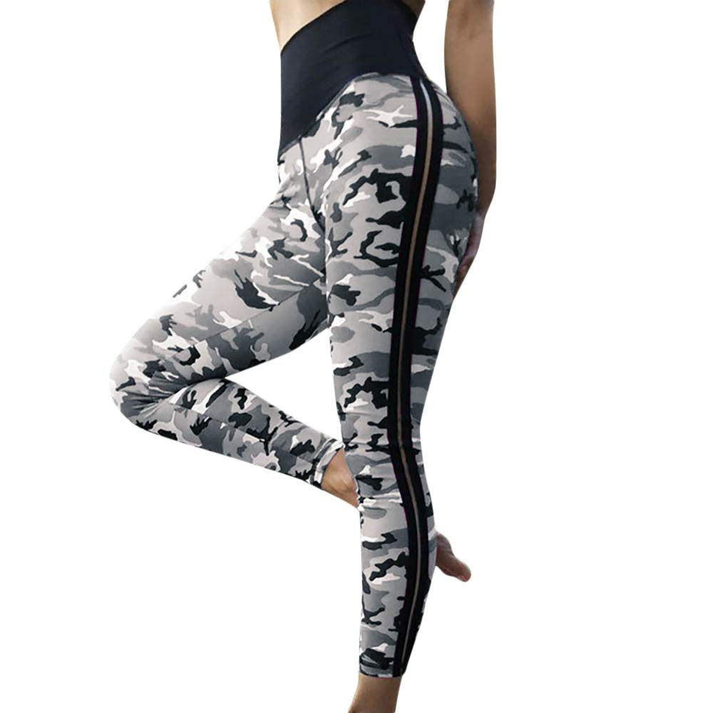 Yusealia Pantalones Yoga Mujeres Mallas Deportivas Mujer Cintura Media Estampado de Estrellas Leggings Impresió n de Camuflaje Mujer Deporte Pantalones Fitness Mujer Gym Elá Sticos Para Running Pilates
