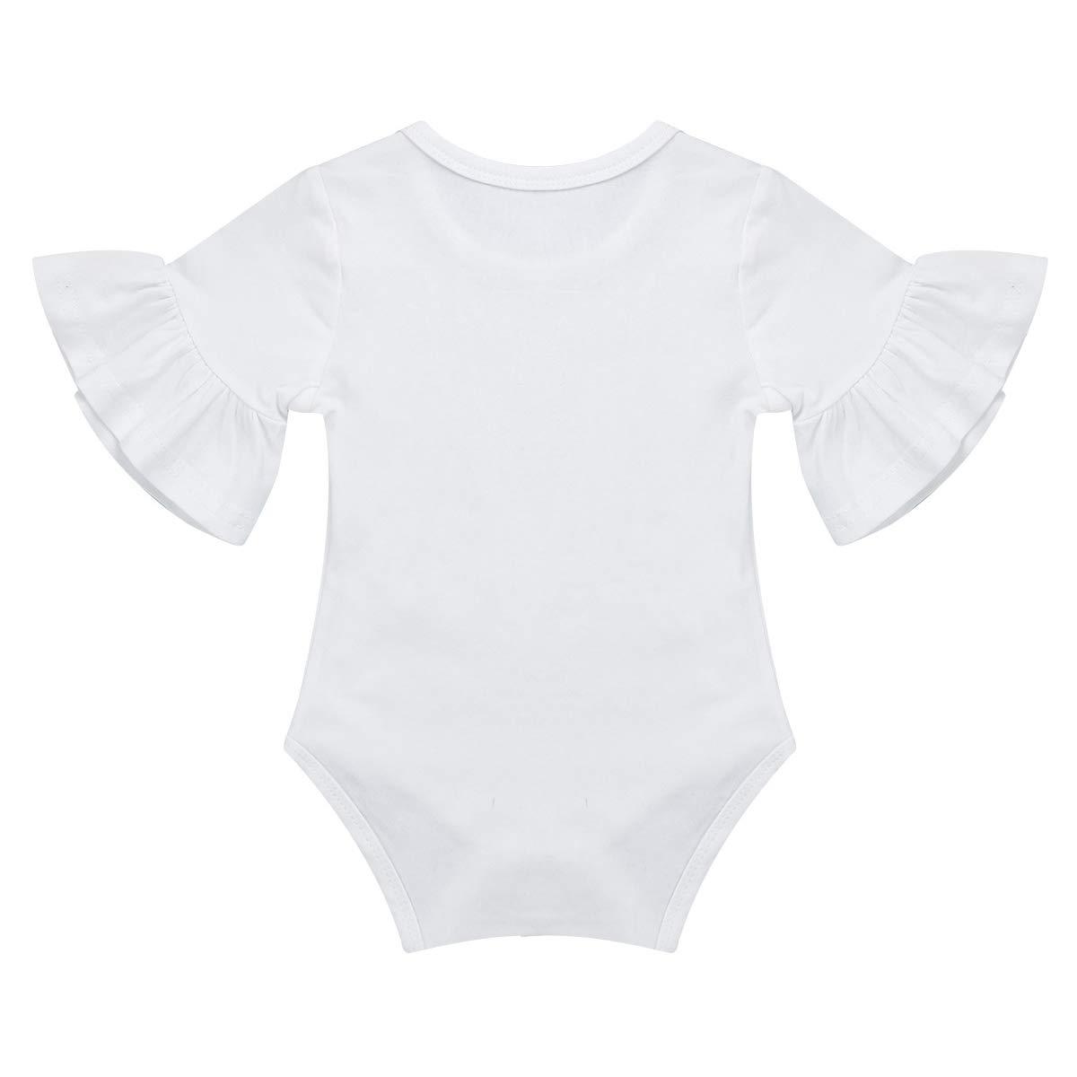 iEFiEL Baby M/ädchen Body Baumwolle mit Fl/ügel/ärmel Spitze R/üschen Overalls Kleinkind Spielanzug Babykleidung gr 68 74 80 86 92