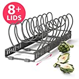 #6: BTH NEW Expandable Pot Lid Organizer Rack: Stores 7 or 8+ Lids, Can Be Extended to 22.25