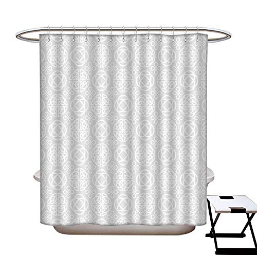 Stevenhome Celtic Hotel Quality Shower Curtain Liner Retro Tribal Celtic Knots Eternity Forms Pattern Boho Ireland Irish Floral Artwork Shower Curtain with 12 Beaded Rings Grey White
