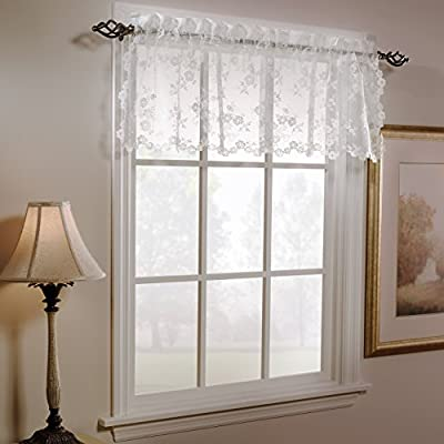 SKL Home by Saturday Knight Ltd. Petite Fleu Valance, Ivory, 52 inches x 14 inches - Single valance, 1.5 inch diameter rod pocket Use solo or coordinate with the matching tier pair, swag pair or panels to complete the look Delicate flower lace with laser cutting on three sides - living-room-soft-furnishings, living-room, draperies-curtains-shades - 51Rry5o02gL. SS400  -