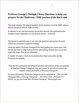 Professor George's Multiple Choice Questions to help you prepare for