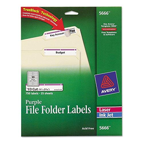 Avery Purple File Folder Labels for Laser and Inkjet Printer