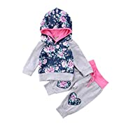 2PCS Newborn Baby Girls Clothing Floral Hoodies Embroidery Tops Pants Winter Outfits (Gray, 0-6 Months)