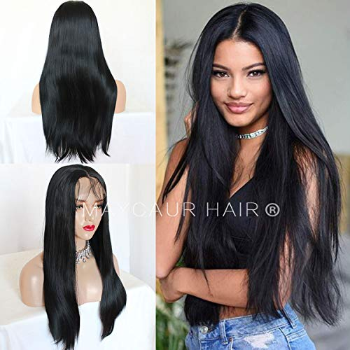 Maycaur Black Lace Wigs Long Straight Hair Wigs Heat Resistant Fiber Hair Synthetic Lace Front Wigs for Women Natural Baby Hair 20 Inch