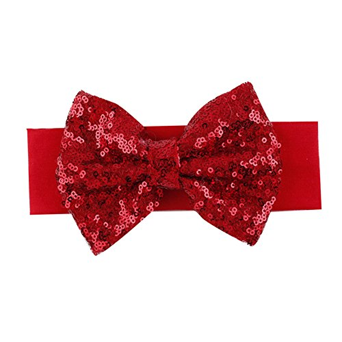 [DJHbuy Shiny Elastic Sequins Bow Hairband Baby Girl Kid Infant Turban Knot Headband] (Red Glitter Hair Bows)
