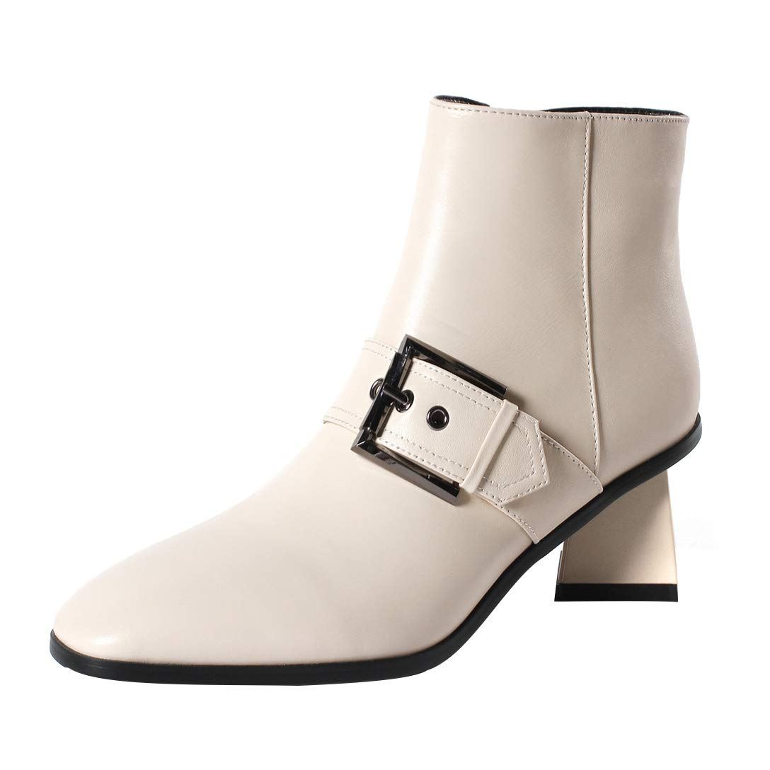 White MAYPIE Womens Toappet Leather Zipper Ankle Boots