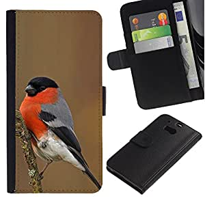 KingStore / Leather Etui en cuir / HTC One M8 / Nature Oiseau Rouge Ornithologie