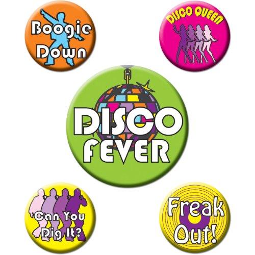 [Disco Party Buttons (asstd designs)    (5/Pkg)] (70s Costumes Amazon)