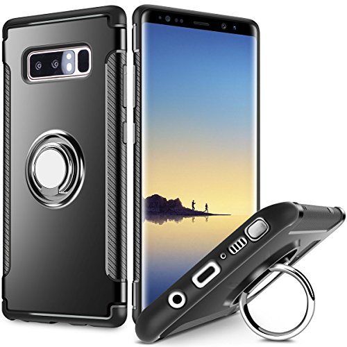 SAMONPOW Slim Fit Hybrid Dual Layer Armor Galaxy Note 8 Case Shock Absorption Rugged Defender with Ring Holder Kickstand Drop Protection Cover Soft Rubber Bumper Case for Samsung Galaxy Note 8