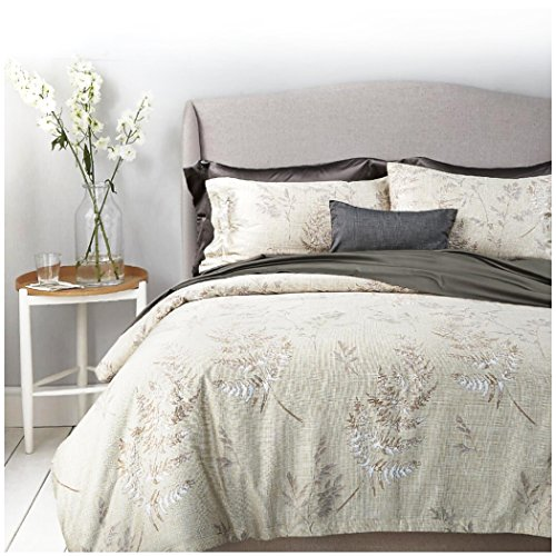 Eikei Vintage Botanical Flower Print Bedding 400tc Cotton Sateen Romantic Floral Scarf Duvet Cover 3pc Set Colorful Antique Drawing of Summer Lilies Daisy Blossoms (Queen, Hint of Lime) from Eikei