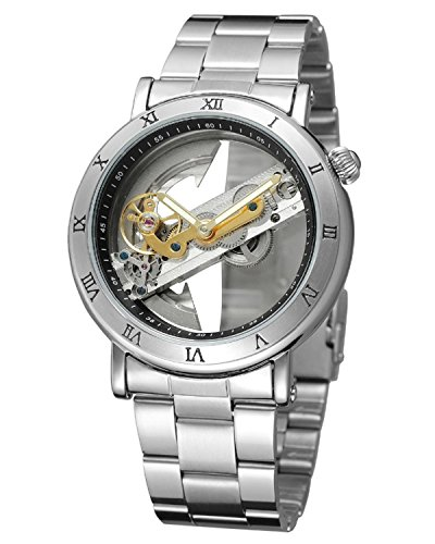GuTe Mens Automatic Watch,Minimalist Dial Analogue Display and Silver Tone Men Wrist Watch (Silver Dial Analogue Display)