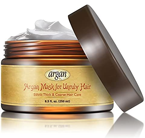 Unruly Hair Mask Deep Conditioner - Extra Thick Coarse Ethnic Hair Care - Moroccan Argan Mask 8.5 oz - Long Lasting Conditioning for Dry Damaged Hair & (Wave Conditioner)