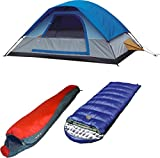 Alpinizmo High Peak USA Kodiak 20 sleeping bag + Lite Pak 20 with Magadi 5 tent combo set, Blue/Red, One Size
