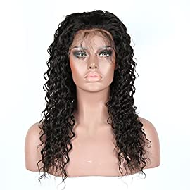 360 Lace Frontal Wig Pre Plucked with Baby Hair Glueless Human Hair Wigs for Black Women Short 150% Density 360 Lace Wig Deep Wave Human Hair Wig 9A Brazilian Virgin 360 Lace Front Wig Human Hair 12″