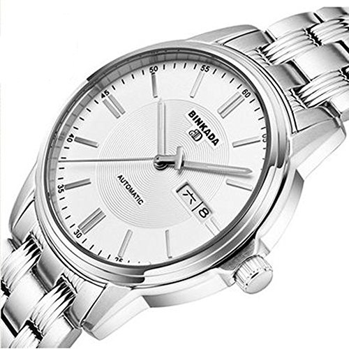 BINKADA Men's Stainless Steel White Dial Automatic Mechanical Waterproof and Scraping Wrist -