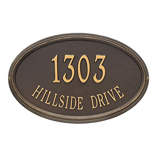"Customized Concord OVAL Estate Wall Address Plaque 21""W x 13""H (2 Lines) - Oval Estate Wall Plaque"