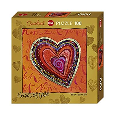 Heye 29762 Steinmayer Hearts Of Gold Layers Puzzle Quadrato Mini Puzzle 100 Pezzi