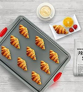 Boxiki Kitchen Nonstick Baking Sheet Pan   100% Non-Toxic Rimmed Stainless Steel Baking Sheet, No Chemicals or Aluminum   Dent, Warp & Rust Resistant Heavy Gauge Steel Oven Baking Sheet