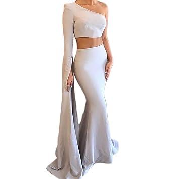 Mathena Women\'s One Shoulder Long Sleeve 2 Piece Mermaid Prom Dress ...
