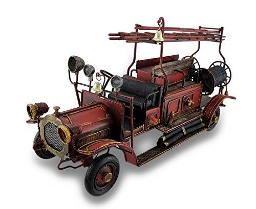 Antique Fire Engine - Zeckos Red Antique Fire Truck Decorative Metal Statue