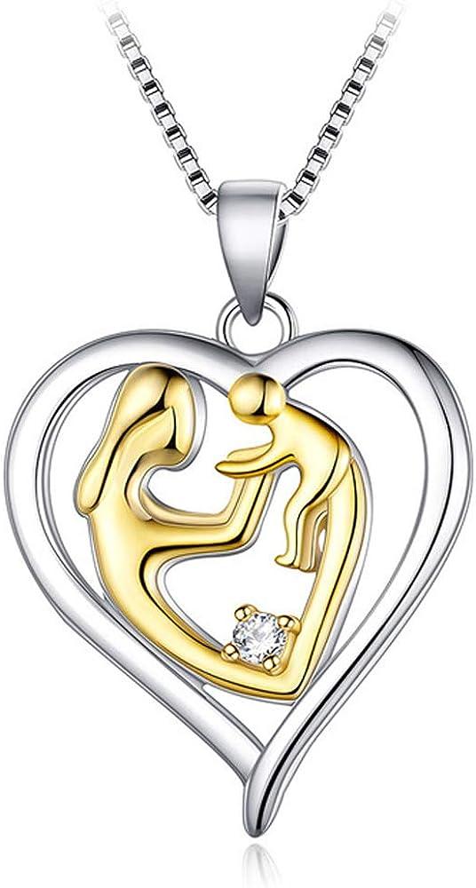 Plata 925 Esposa Collar Corazón Amor Forma Colgante Mamá Collares Mujeres Damas Joyas para el Día de la Madre