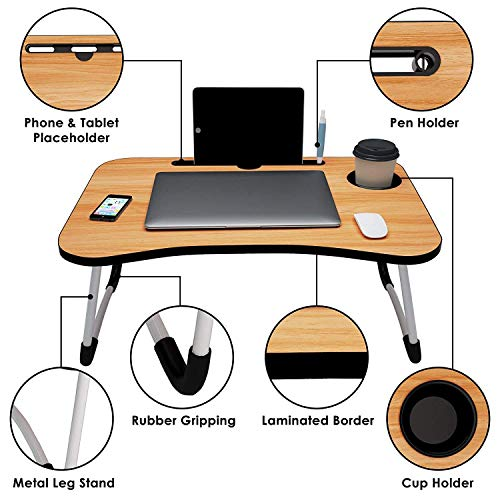 VIR S Creation Home Folding Laptop Bed Tray Table, Portable Lap Support Frame, Bedroom Desk Notebook with Breakfast Cup Slot, Student Study Table.