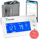 Bluetooth Blood Pressure Monitor by Lexico Health - Smart Medical Device for Heart Care at Home - Large Upper Arm Cuff Kit - Portable Digital Machine with Free App for Apple iPhone and 4X Battery
