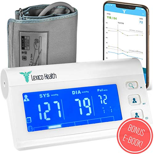 Bluetooth Blood Pressure Monitor by Lexico Health – Smart Medical Device for Heart Care at Home – Large Upper Arm Cuff Kit – Portable Digital Machine with Free App for Apple iPhone and 4X Battery