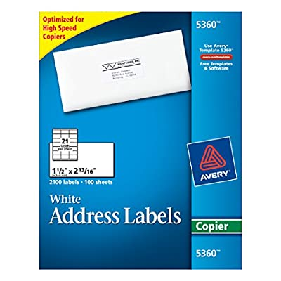 "Avery Copier Label, Mailing, 1-1/2"" x 2-13/16"", 2100 per Box, White (5360)"
