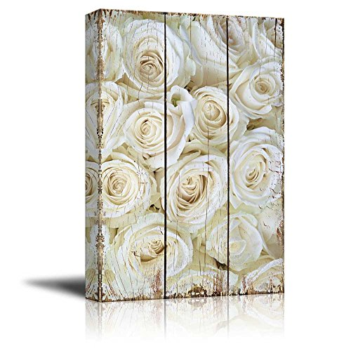 Field of Delicate White Roses Over Scratched Wooden Panels Nature
