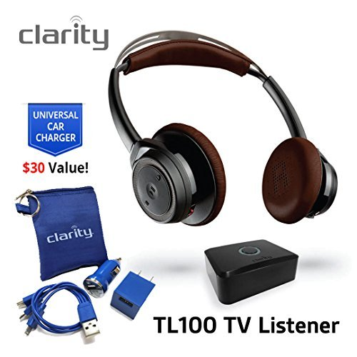 Clarity TL100 Wireless Bluetooth Over-Ear Sound Amplifying Headphones Headset For Hearing Impaired...