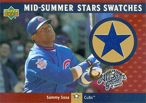 (Sammy Sosa player worn jersey patch baseball card (Chicago Cubs, 67) 2002 Upper Deck All Star Swatches #MSSS)