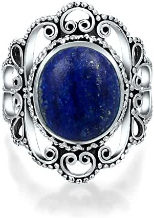 Bling Jewelry 925 Silver Filigree Untreated Natural Lapis Statement Ring