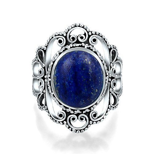 Bling Jewelry 925 Silver Filigree Untreated Natural Lapis Statement Ring Blue 8