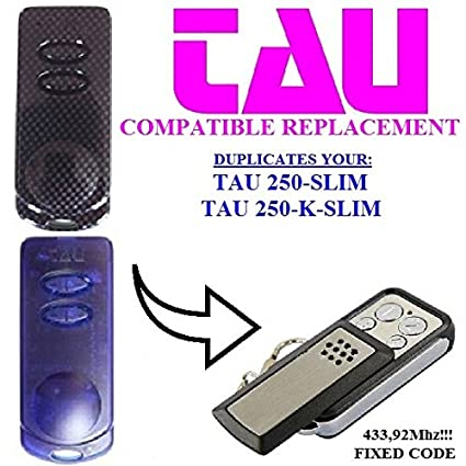 TAU 250-SLIM, TAU 250-K-SLIM compatible remote control, CLONE transmitter  for garage gate automation, Top Quality keyfob, 433,92MHz fixed code