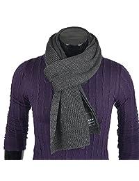 Mens Plaid Long Scarf Soft Warm Thick Knit Winter Scarves (Plain-DGrey)