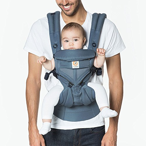 Cool Oxford - Ergobaby OMNI 360 Cool Air Mesh Ergonomic Baby Carrier All Carry Positions, Newborn to Toddler, Oxford Blue