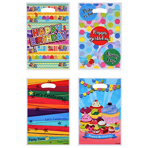 PintreeLand Plastic Birthday Party Favor Bags 60 PCS Party Gift Goody Bags for Kids Birthday -