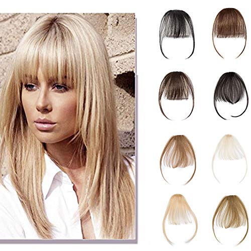 Clip In Air Bangs 100% Remy Human Hair Extensions One Piece front Neat Air Fringe Hand Tied Straight Flat Bangs Clip On Hairpiece With Temples For Women #613 Bleach Blonde 3g ()