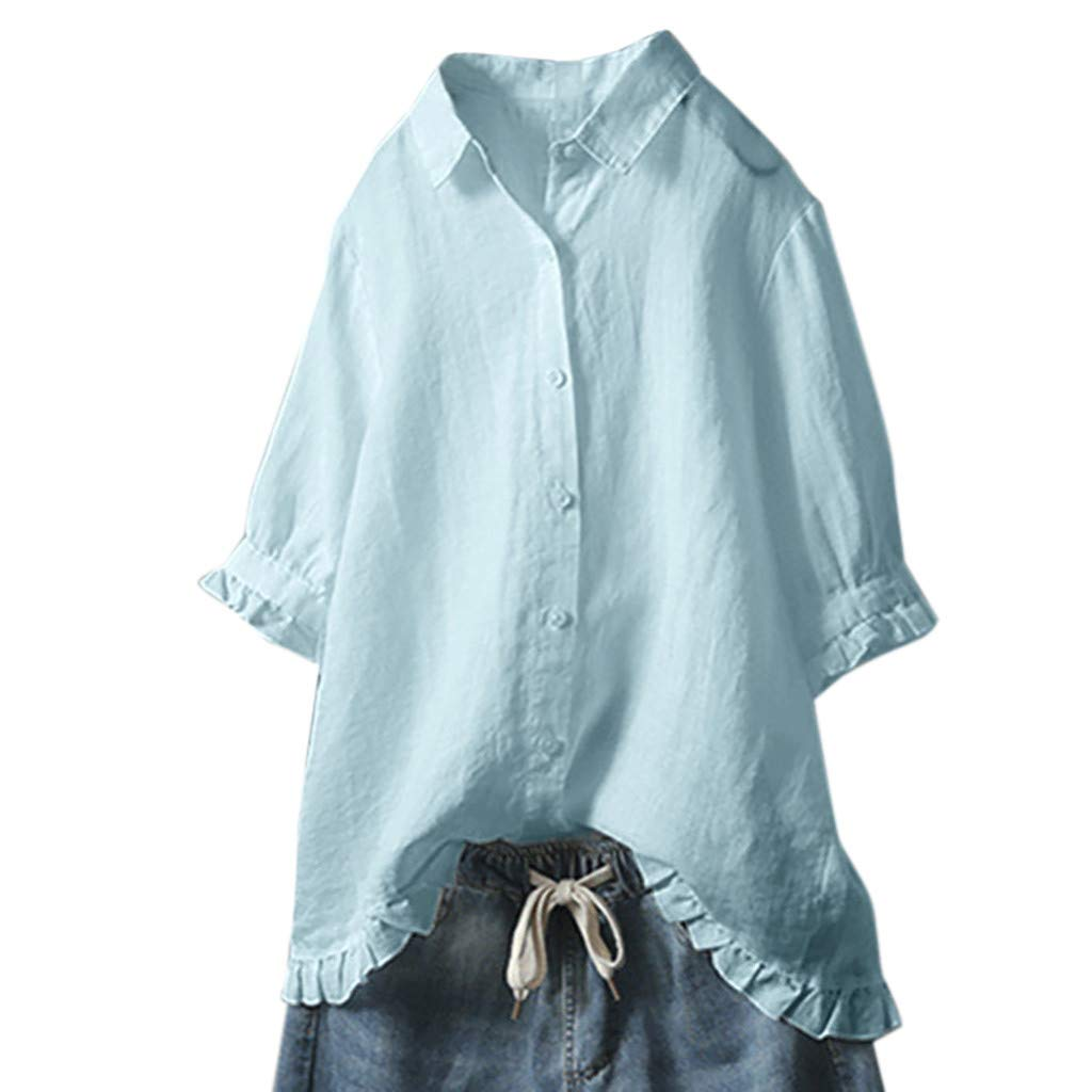 Clearance!! Womens Plus Size Button Blouse - Sexy V-Neck Linen Turn Down Tunic Tops Middle Sleeve Ruffles T-Shirt Top S-5XL
