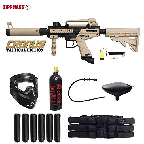 MAddog Tippmann Cronus Tactical Titanium Paintball Gun Package - Black/Tan