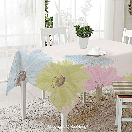 Gerbera Daisy Balloons (Spring and Easter Dinner Tablecloth,Kitchen Table Decoration,Pastel,Gerbera Daisies Chamomiles in Spring Season Garden Decorative,Pale Green Aqua Light Blue,59 x 83 inches)